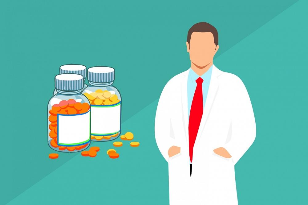Desenho de homem de jaleco com medicamentos ao fundo