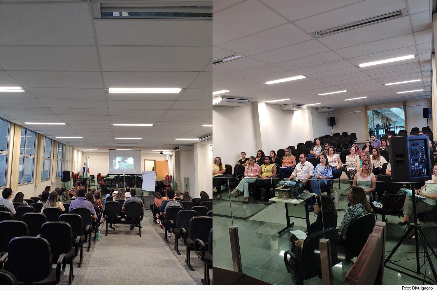 Montagem de fotos: Público assiste a palestra, visto do fundo e de frente